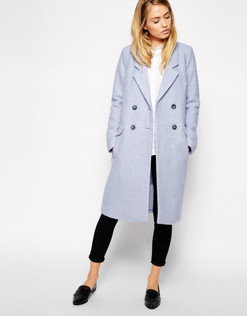 ASOS Pea Coat In Longline Boiled Wool