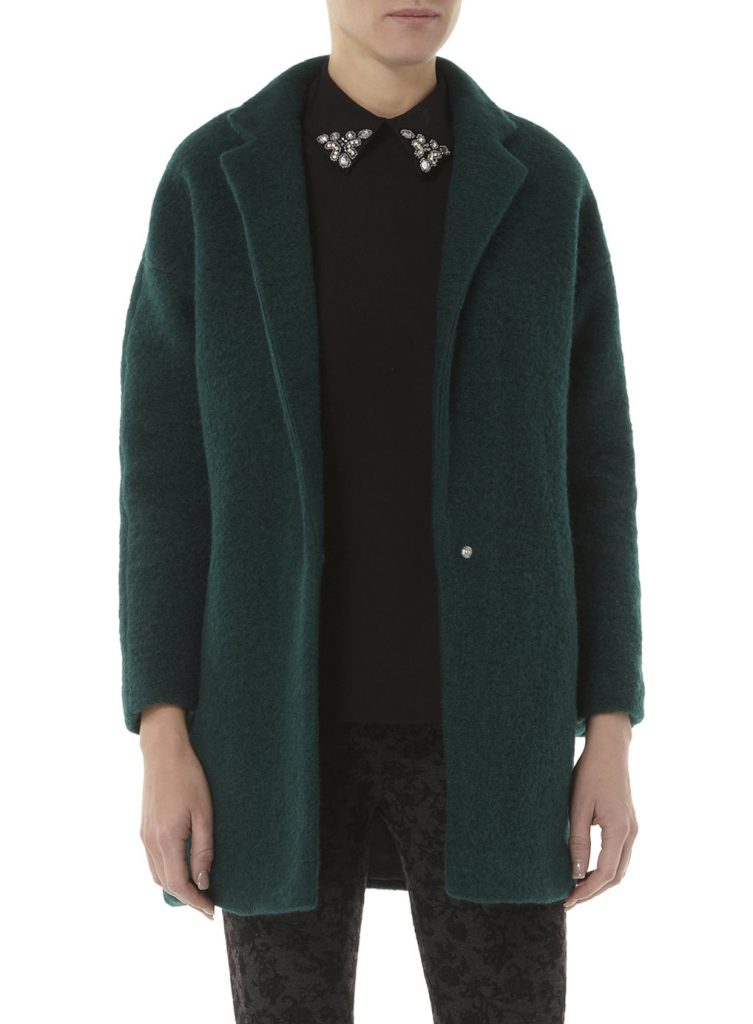 Dorothy Perkins Dark Green Wool Boyfriend Coat