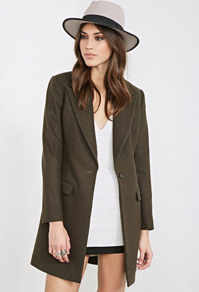 Forever 21 Classic Wool Blend Overcoat