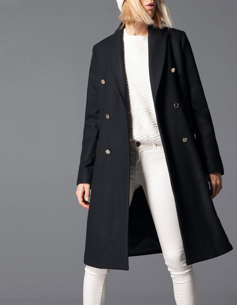 Stradivarius Full-length Woollen Coat with Buttons