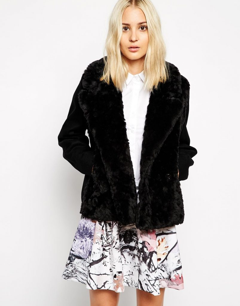 Weekday Faux Fur Biker Coat