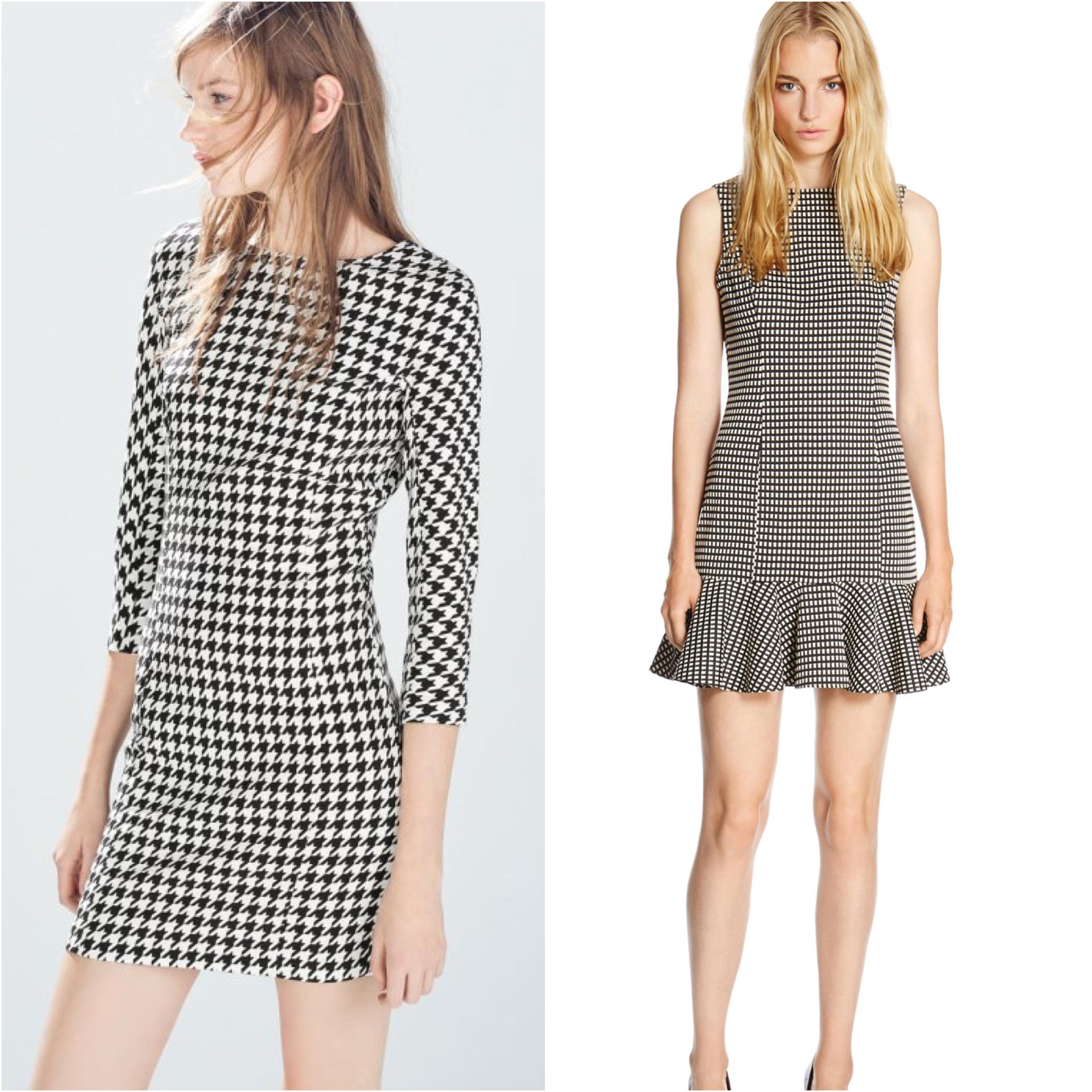 Zara Houndstooth Dress and Warehouse Mini Gingham Dress