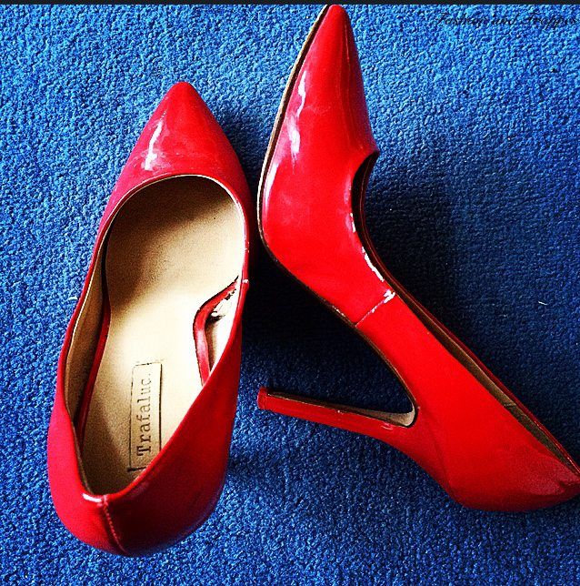 Red patent pumps from Zara