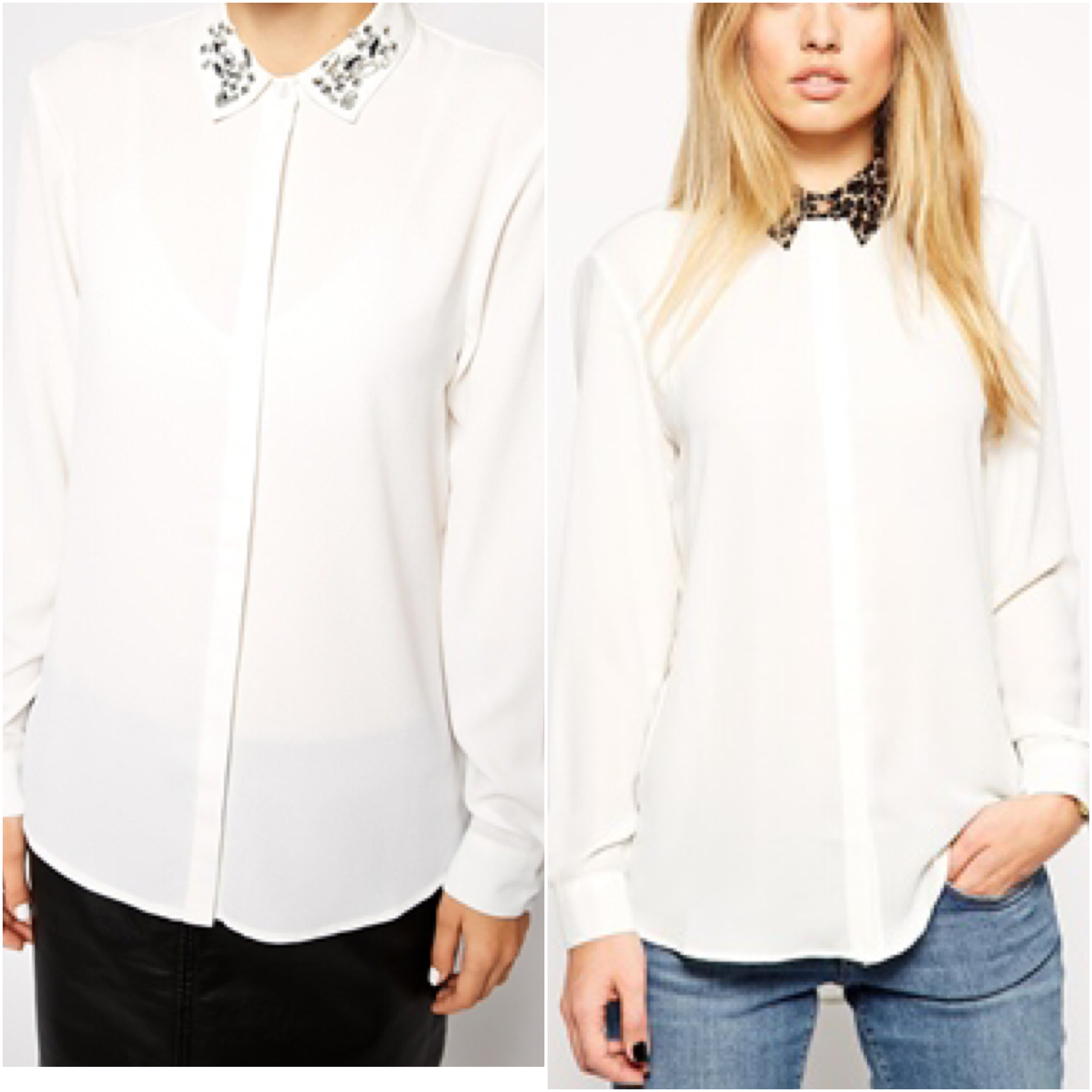 ASOS Blouse with Embellished Collar and ASOS PETITE Blouse with Leopard Collar