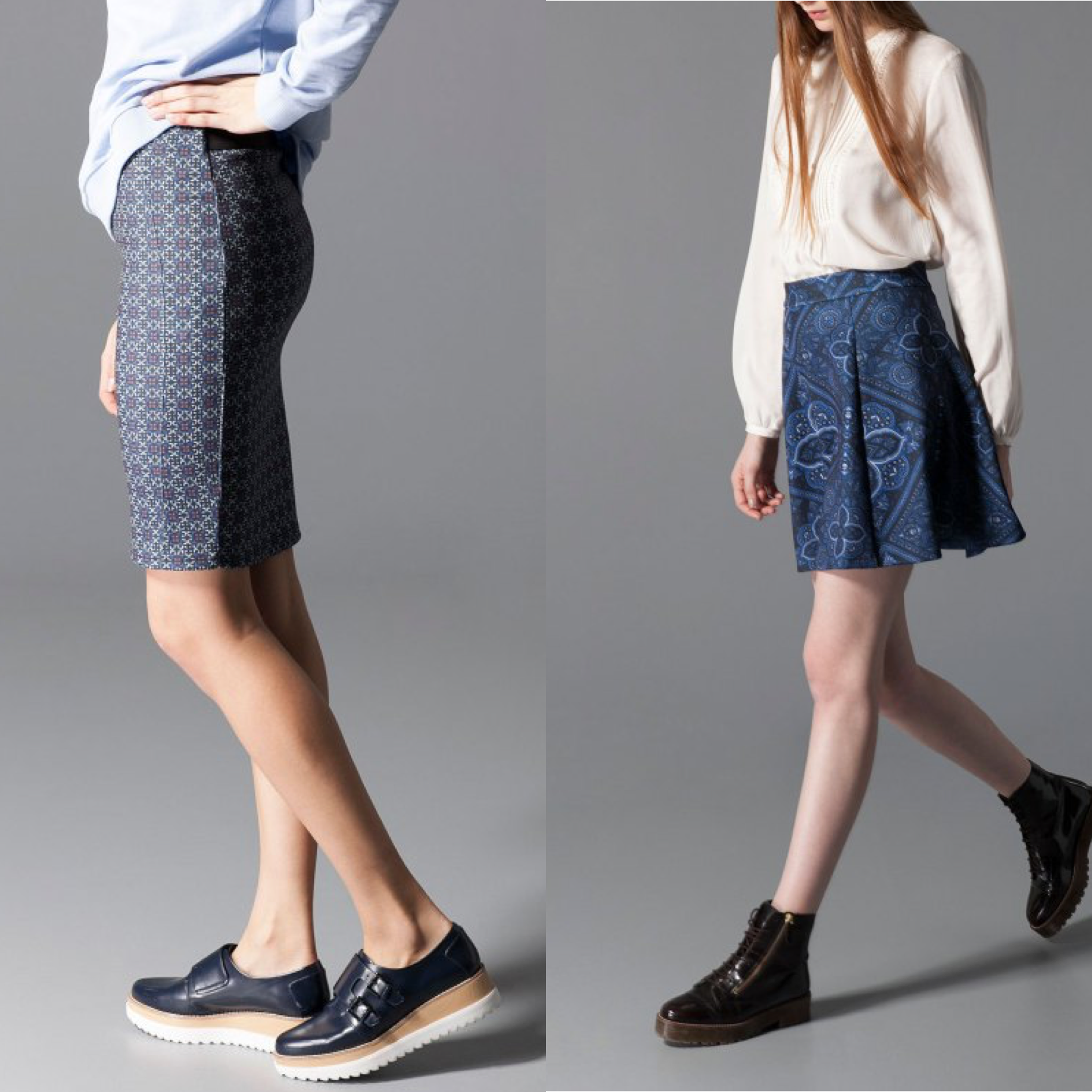 Stradivarius Print Tube Skirt and Stradivarius Skater Skirt