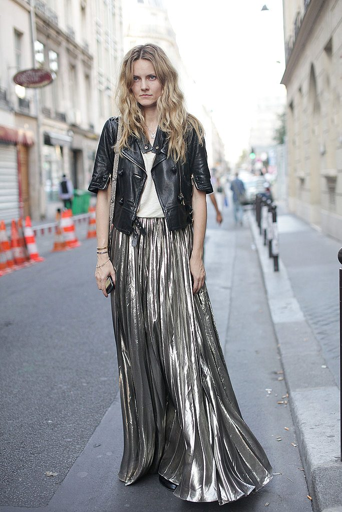 Holiday Sales metallic pleated skirt Paris-Street-Style