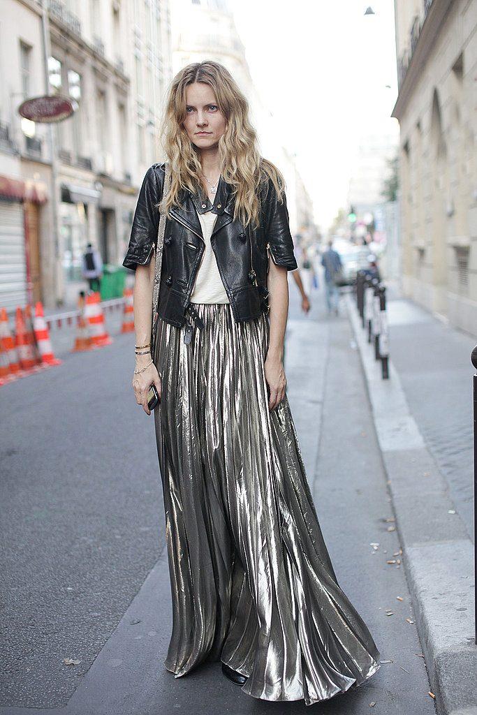 Holiday Sales metallic pleated skirt Paris-Street-Style