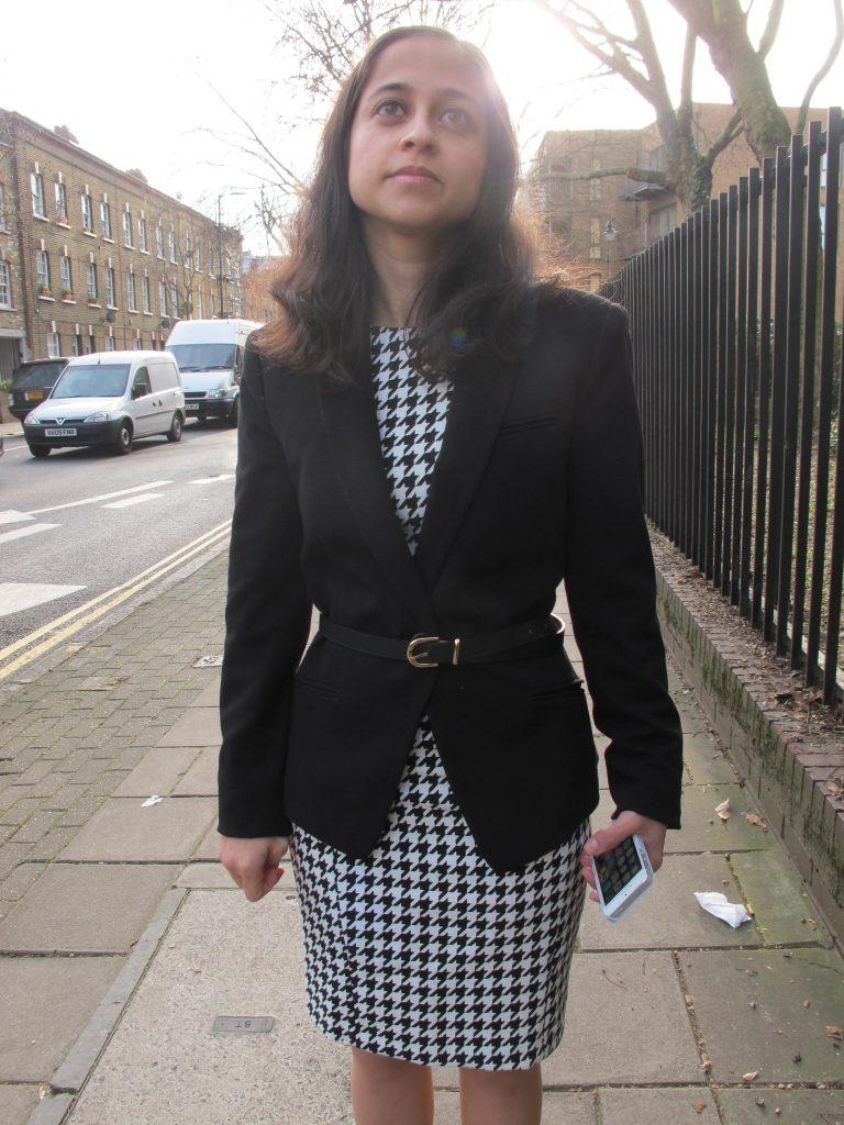 Fashionable Workwear Zara Houndstooth Dress, Mango Black Blazer, H&M Leather Belt and ASOS black patent pumps.