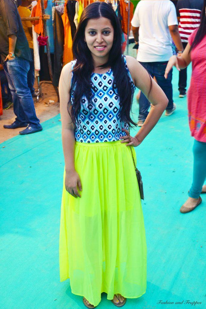 Crop top and Neon Maxi skirt : #OOTD