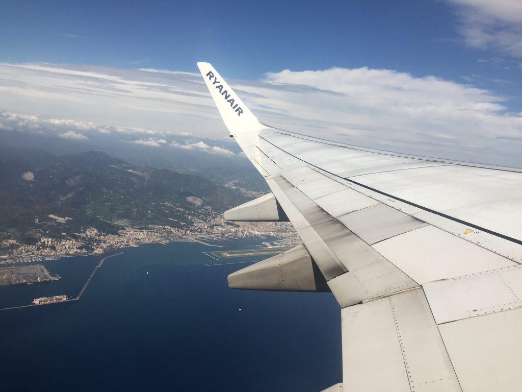 Cinque Terre Italy sea aircraft window