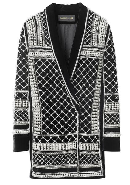 balmain-hm-pearl black blazer jacket