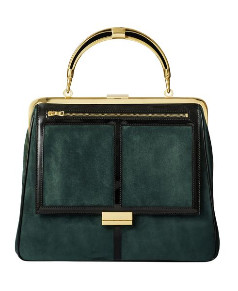 balmain-hm-green velvet top handle structured bag