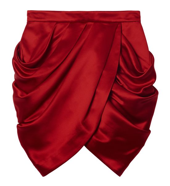 balmain-hm-red satin tulip wrap skirt