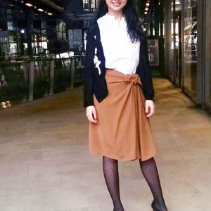 Trendy Workwear Knot Skirts and Polka Dots