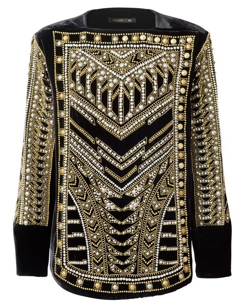 balmain-hm-pearls black shirt