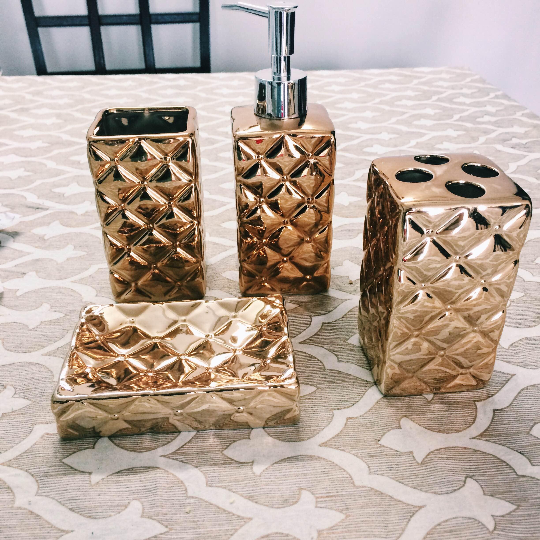 Bathroom Decor Glam gold bathroom accessories