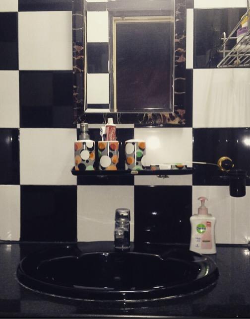 Bathroom black and white tiles