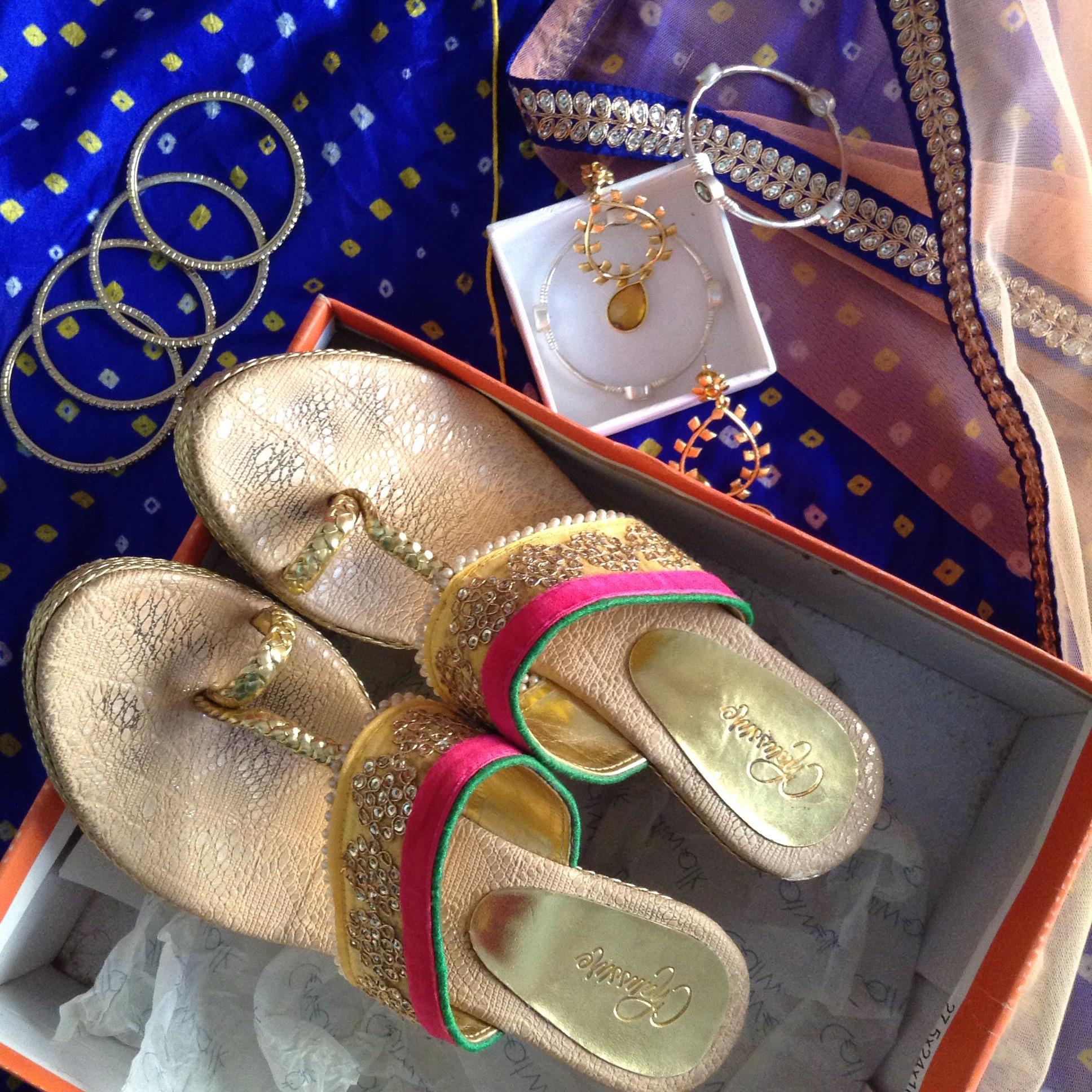 Diwali gold shoes festive wear