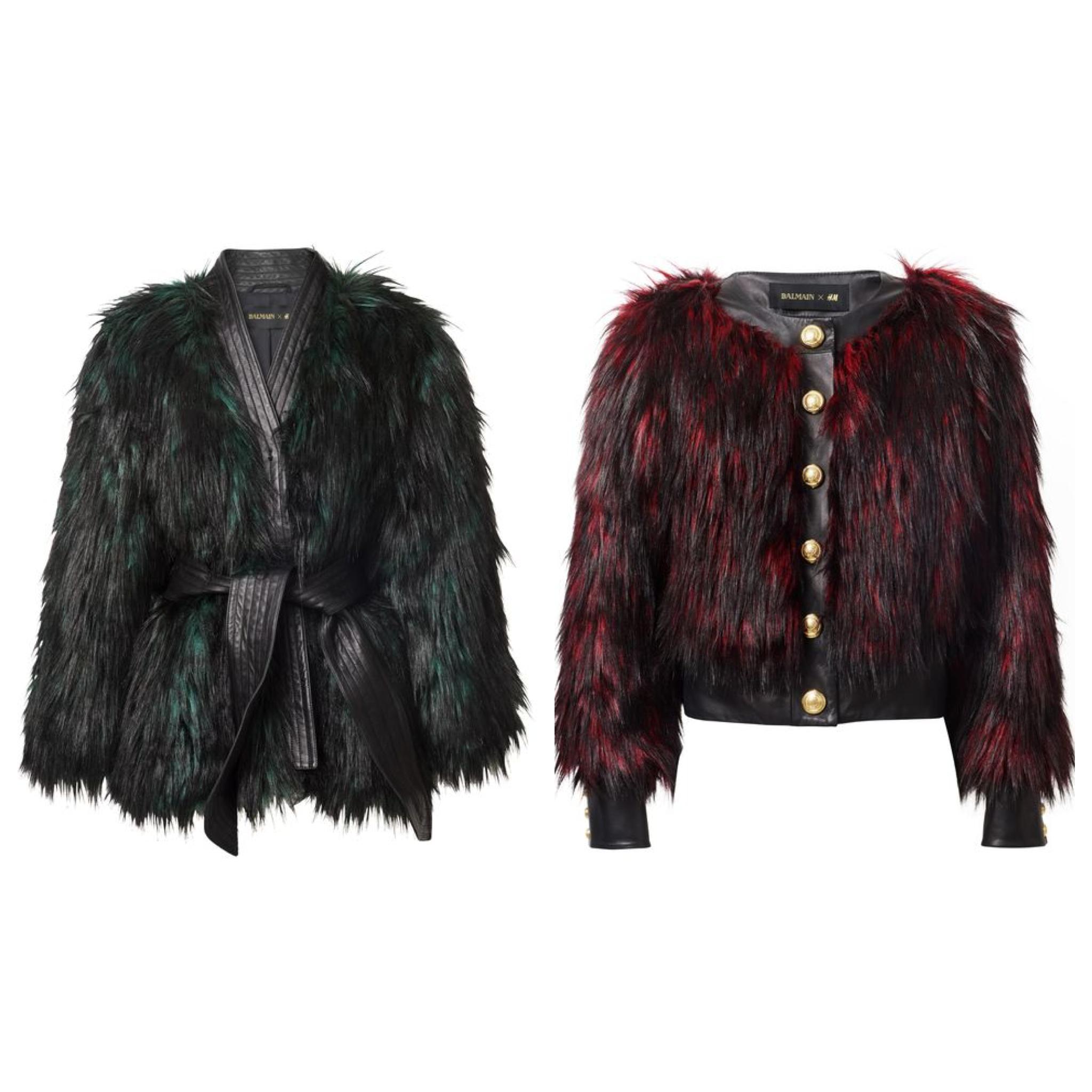 Balmain XHM faux fur jackets glam