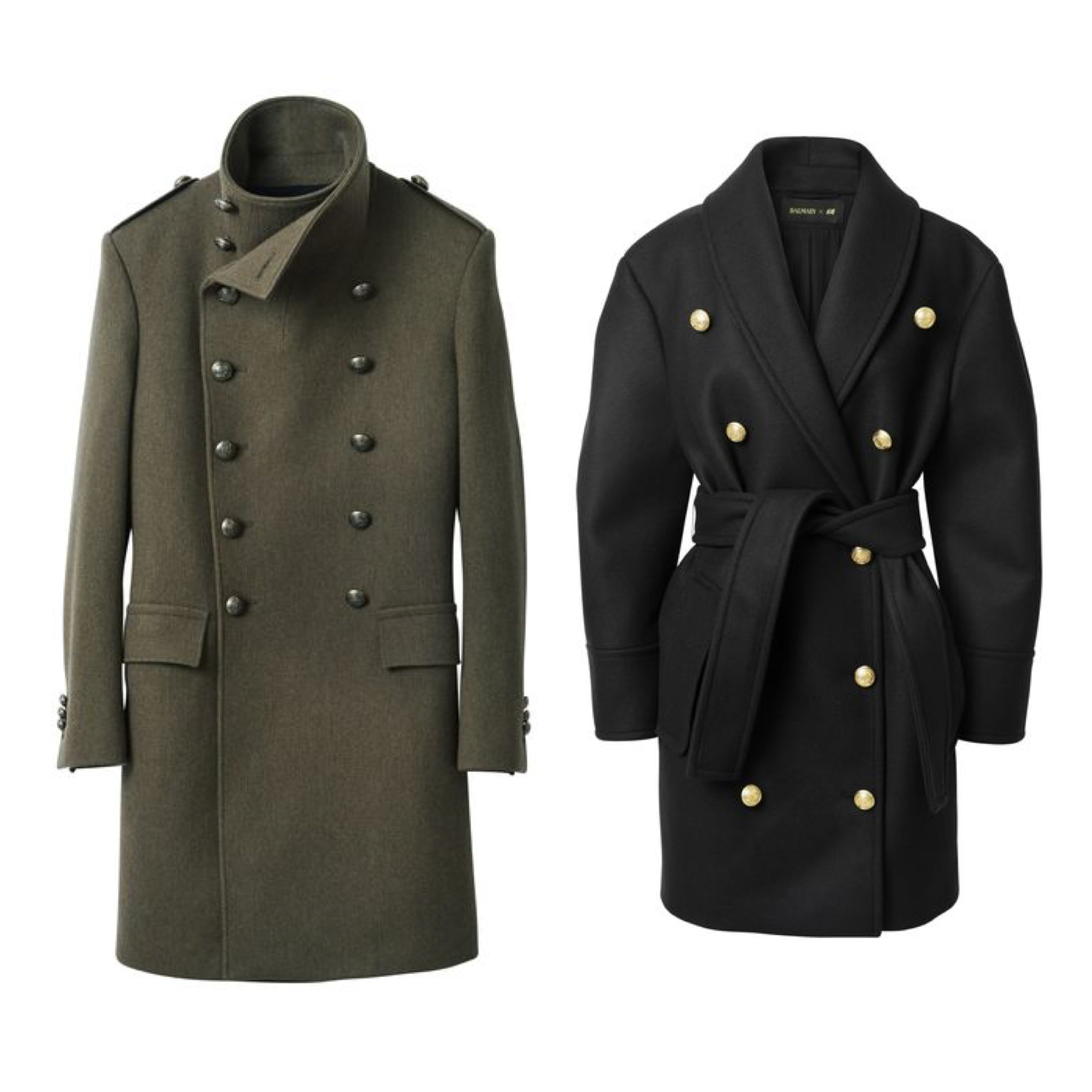 HM Balmain coat military cacao coat