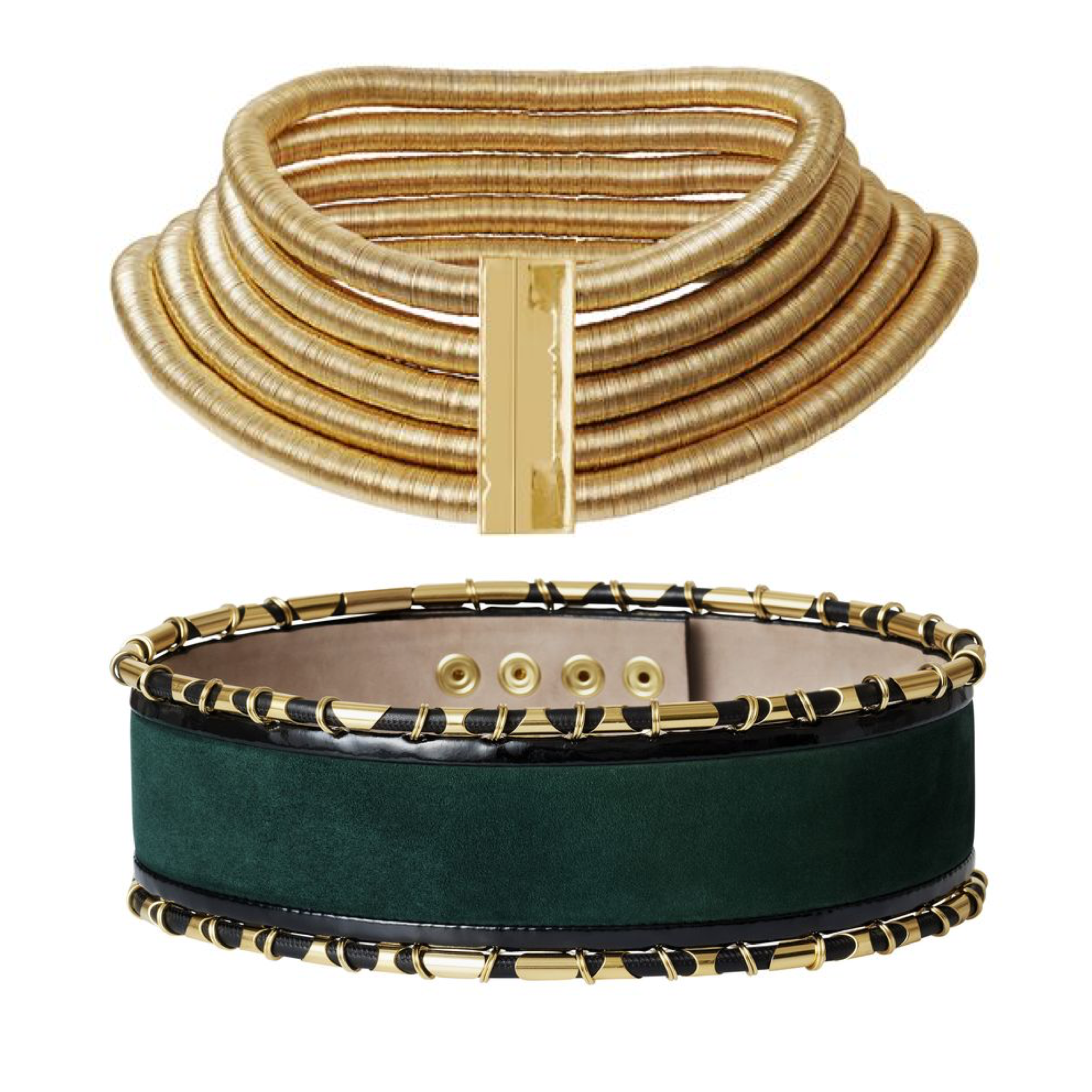 Balmain HM gold choker green belt