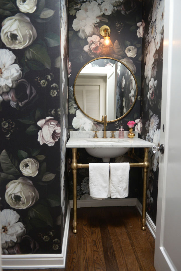 Bathroom Decor Floral Wallpaper Cupcakes and cashmere