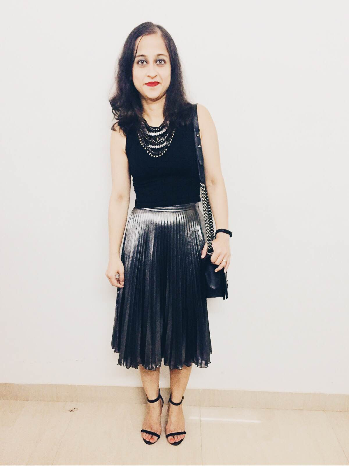 New Year Party Outfits Silver skirt and crop top
