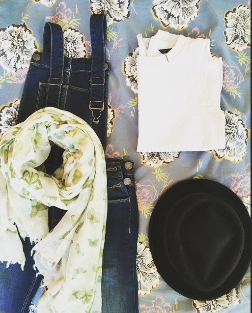 Fashion Resolutions Flat lay denim dungarees hat