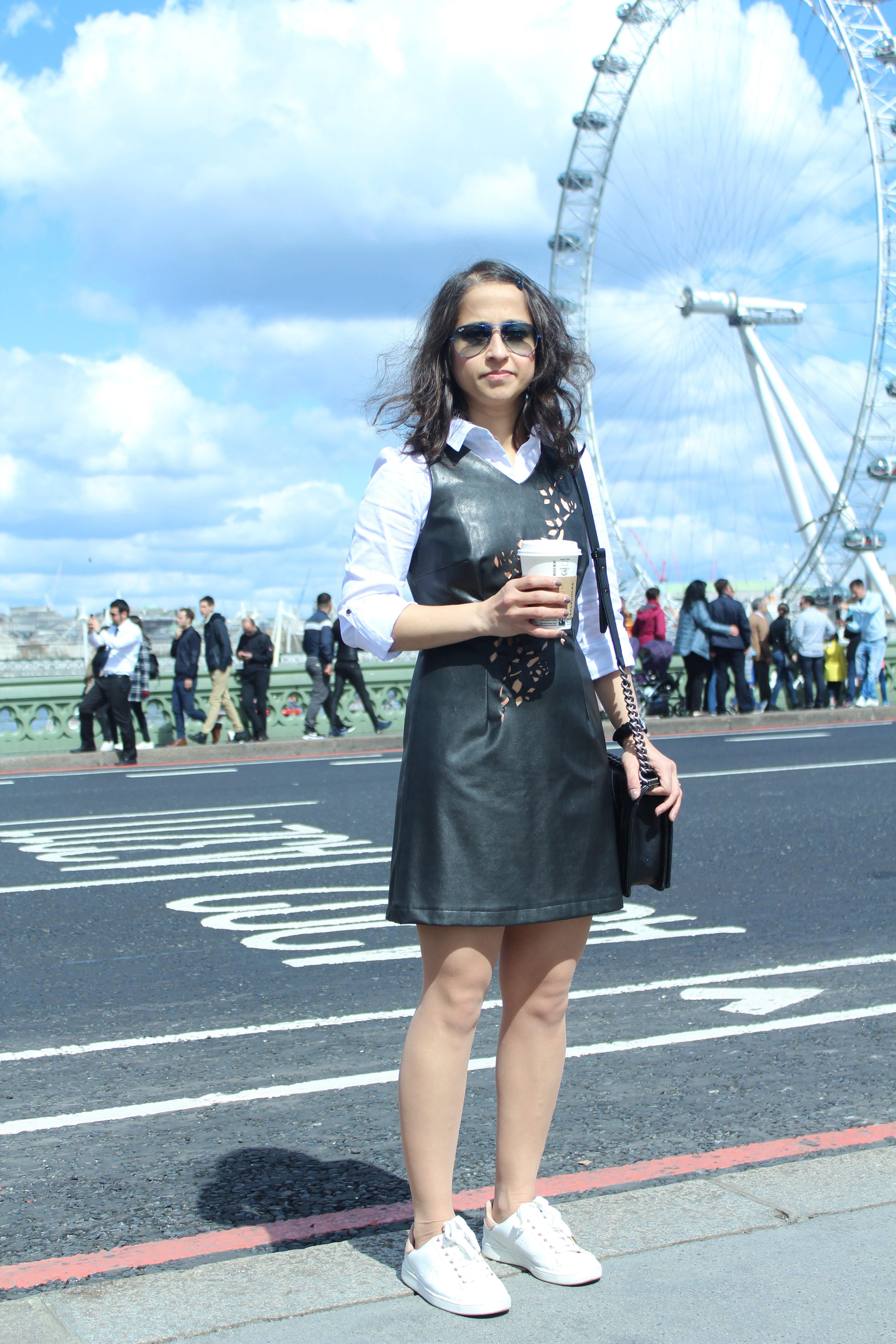 Black leather dress for brunch Zara white shirt