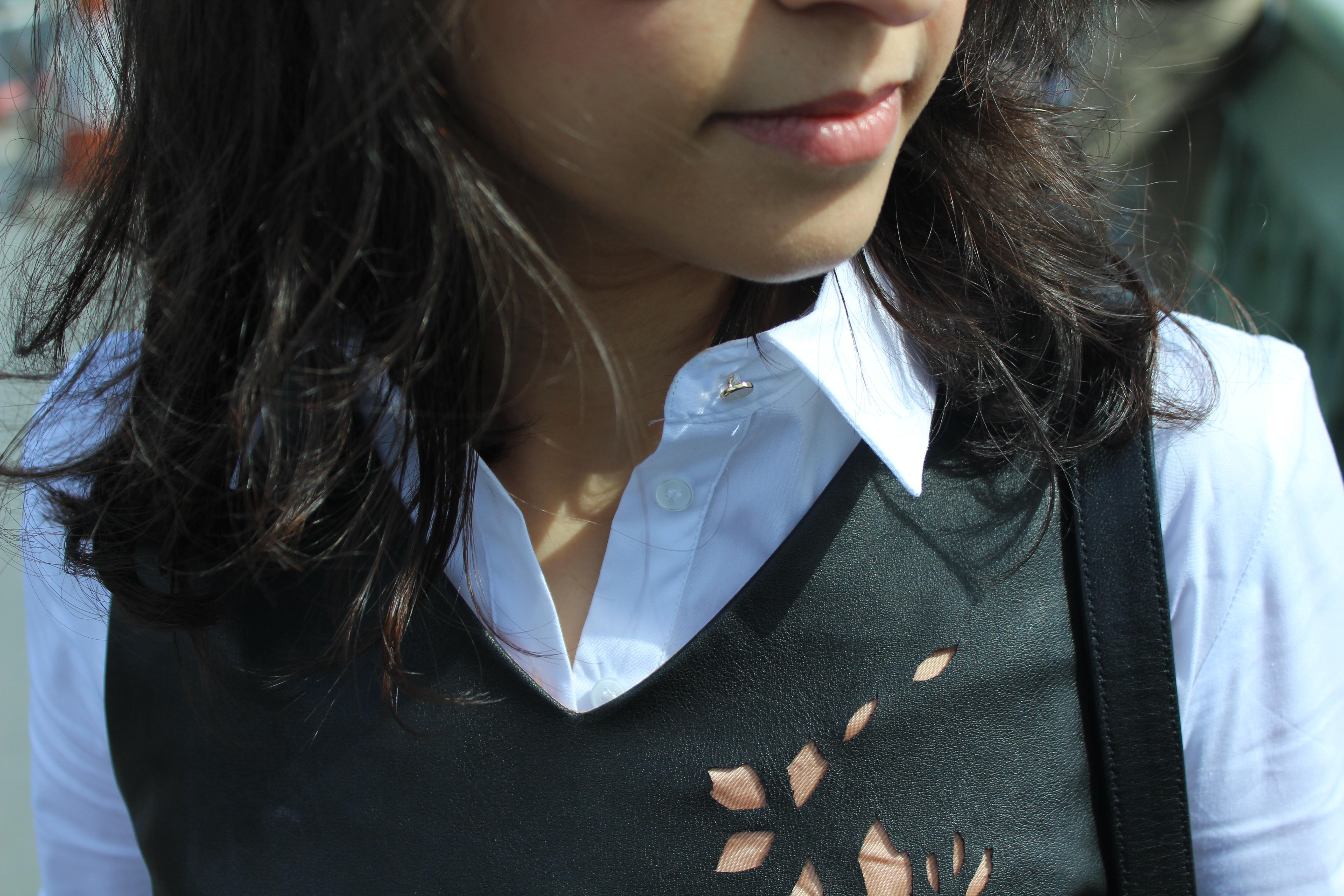Black leather dress Zara white shirt