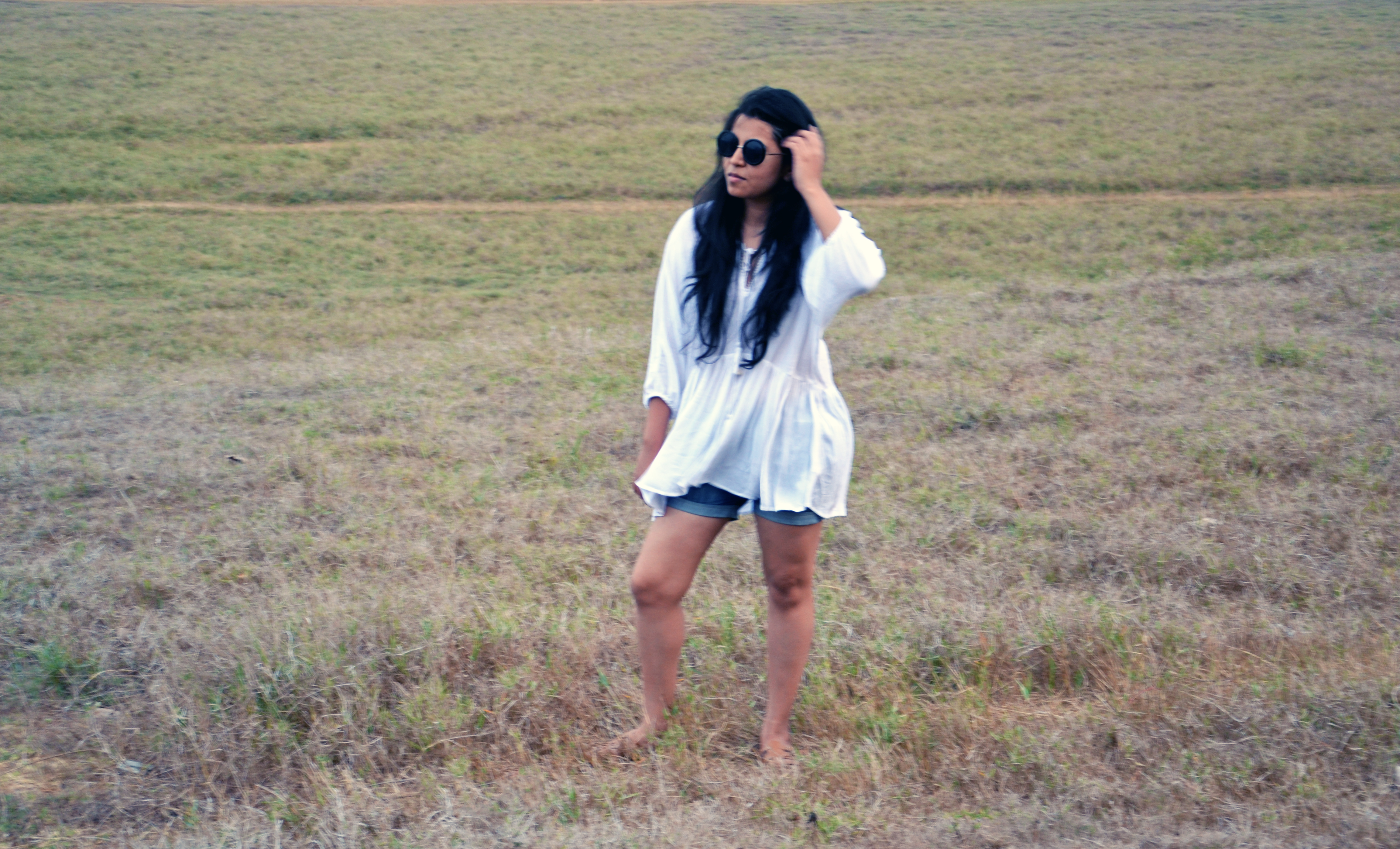 White boho top and denim shorts- Fashion and Frappes