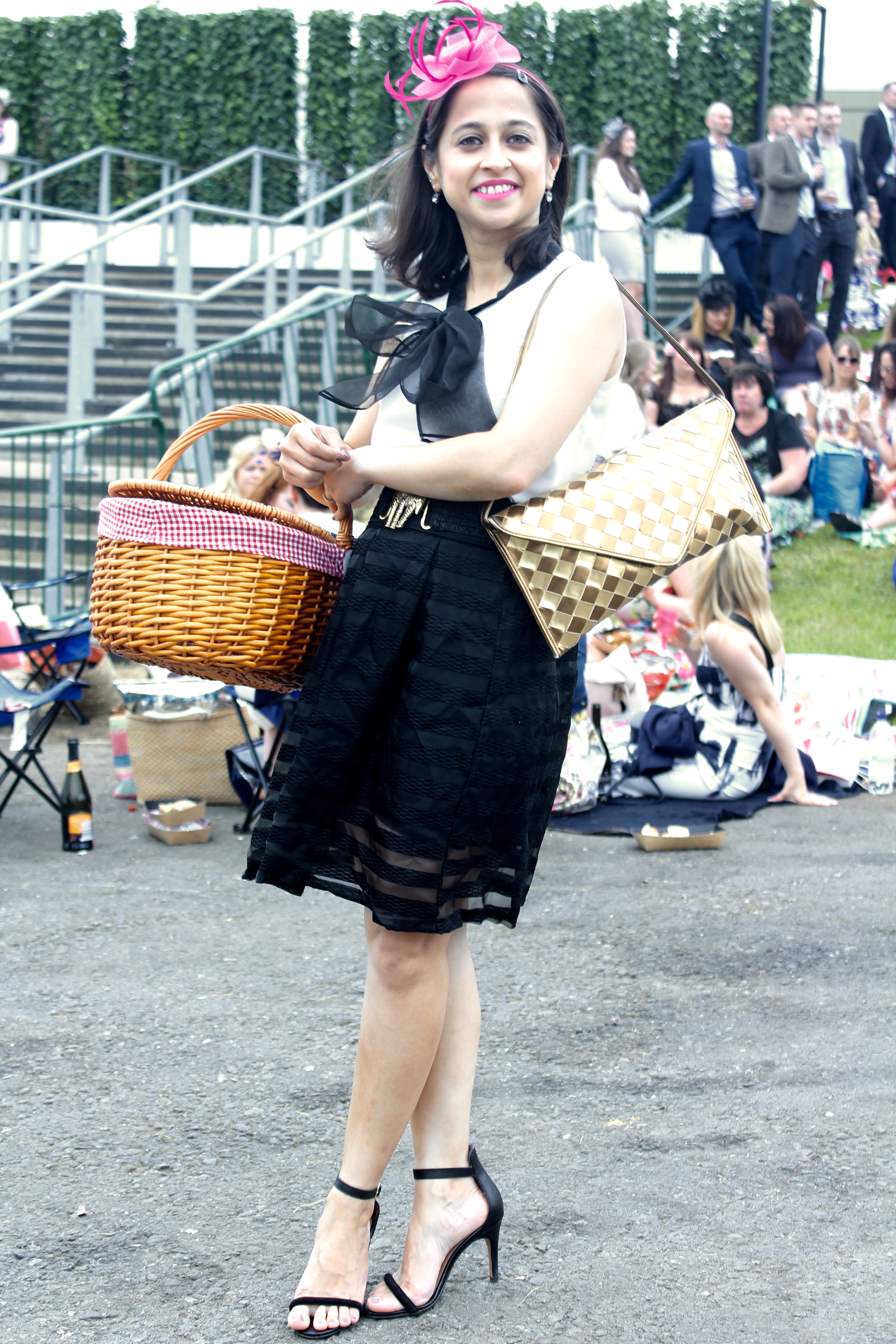 Royal Ascot horse racing fascinator picnic basket