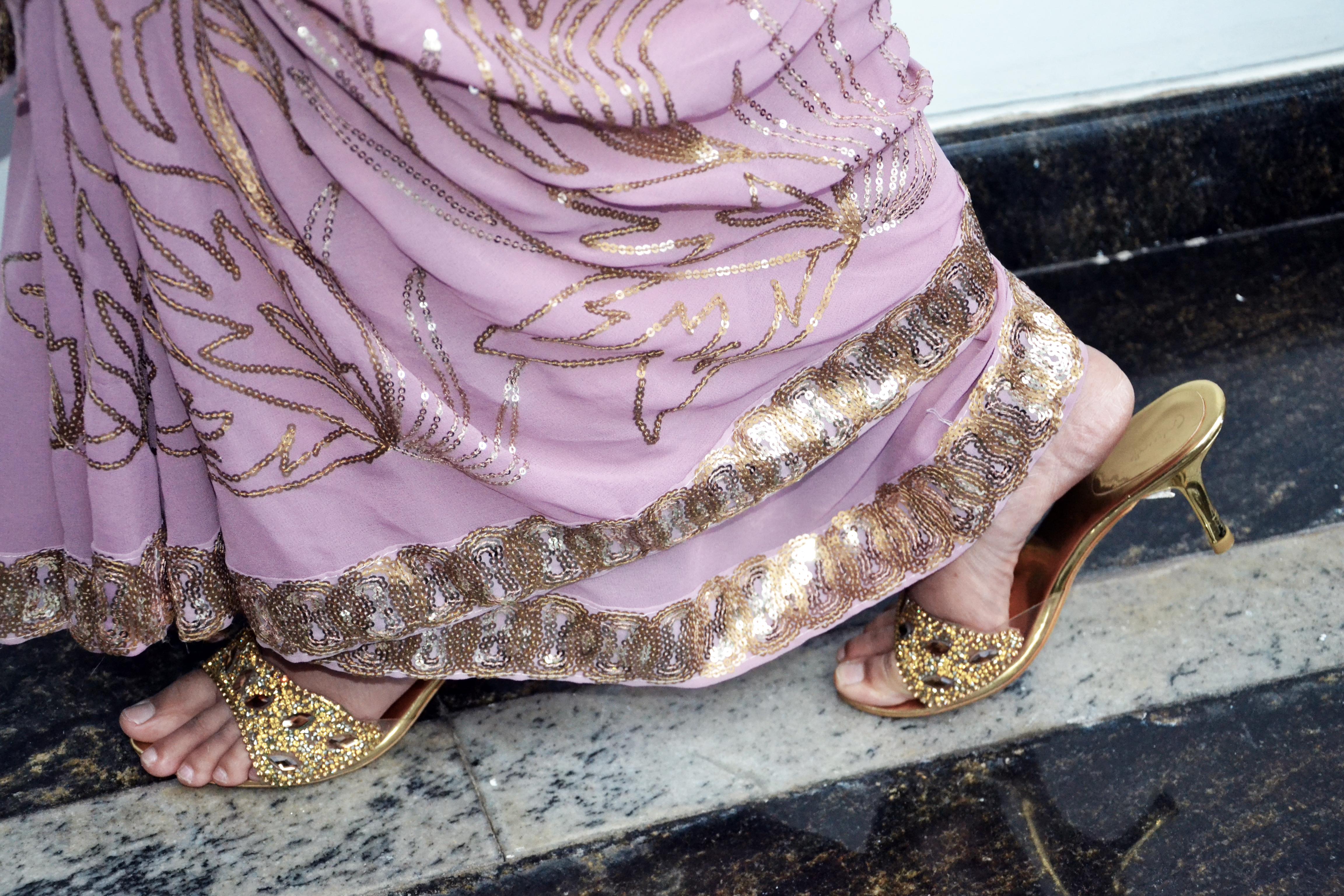 sari - indian wear - gold shoes