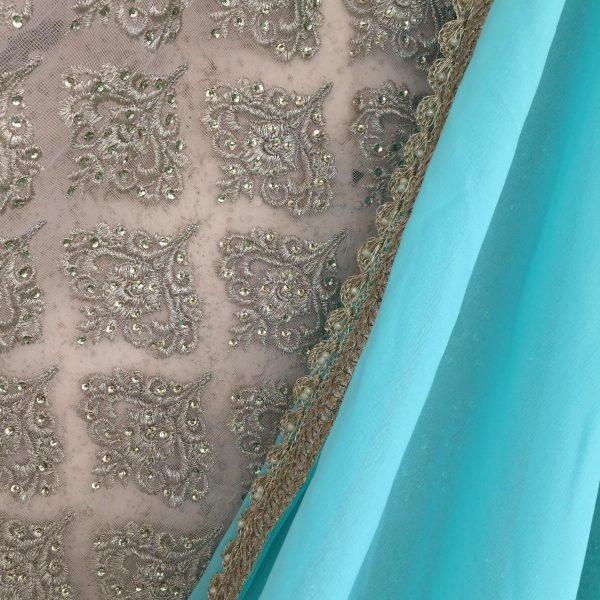 Aqua blue georgette sari Zari by Fashion and Frappes