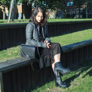 Bohemian black maxi dress and boy Chanel