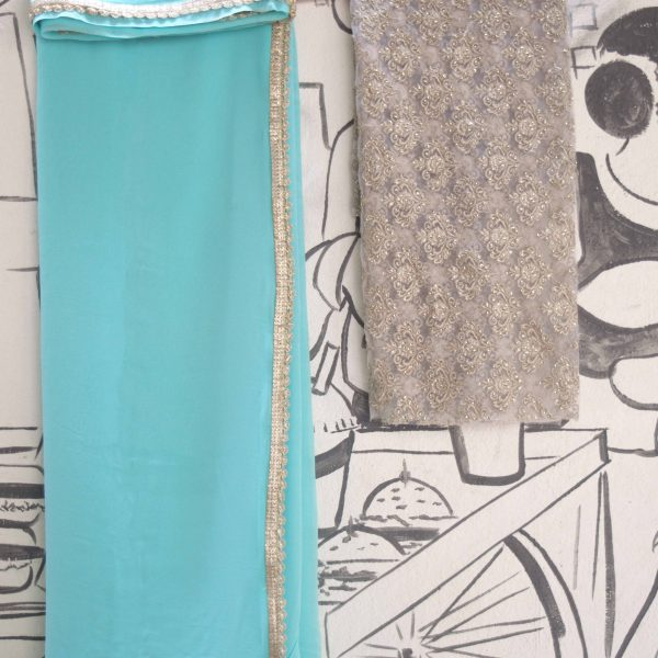 Aqua Blue Georgette Sari - Fashion and Frappes