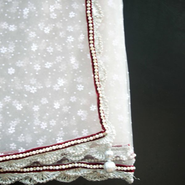 White floral sari with velvet and pearls Zari by Fashion and Frappes