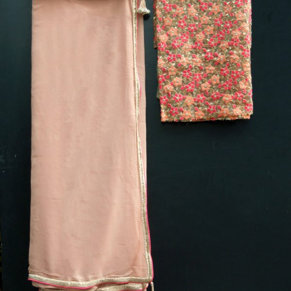 Nude Pure Georgette Sari - Fashion and Frappes