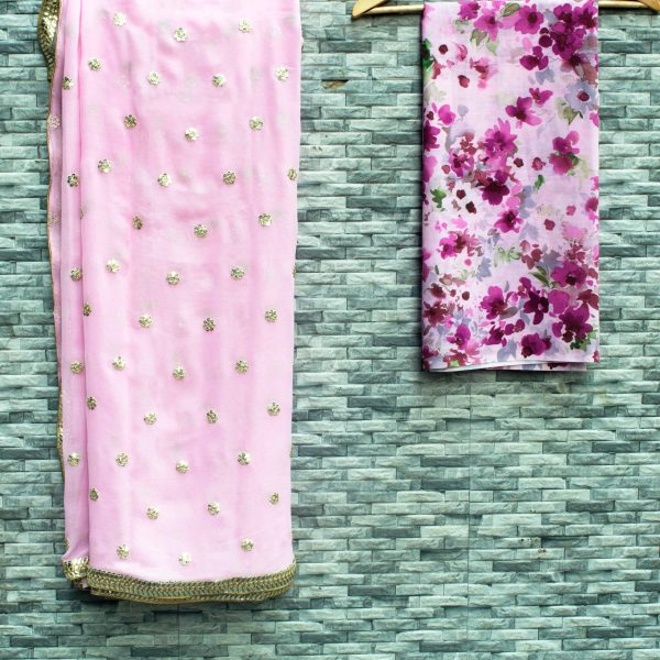 Floral Pink Sari With Gold Work - Fashion and Frappes