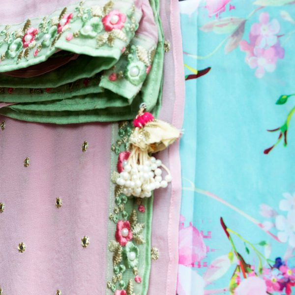Pink Sari With Mirror Work And Mint Floral Blouse - Fashion and Frappes