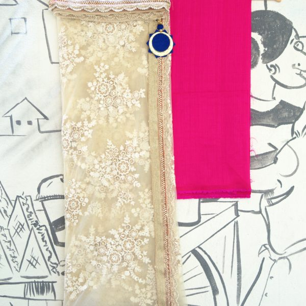 Cream sari with gold embroidery and Fuscia blouse - Fashion and Frappes