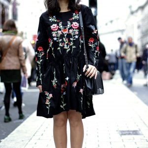 Black embroidery dress blogger favourite