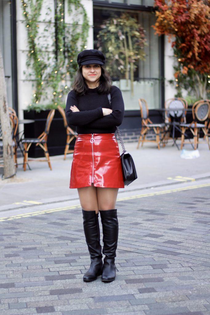 Zara Red patent zip skirt and turtleneck