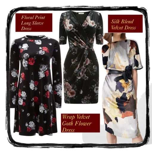 Floral velvet holiday dresses
