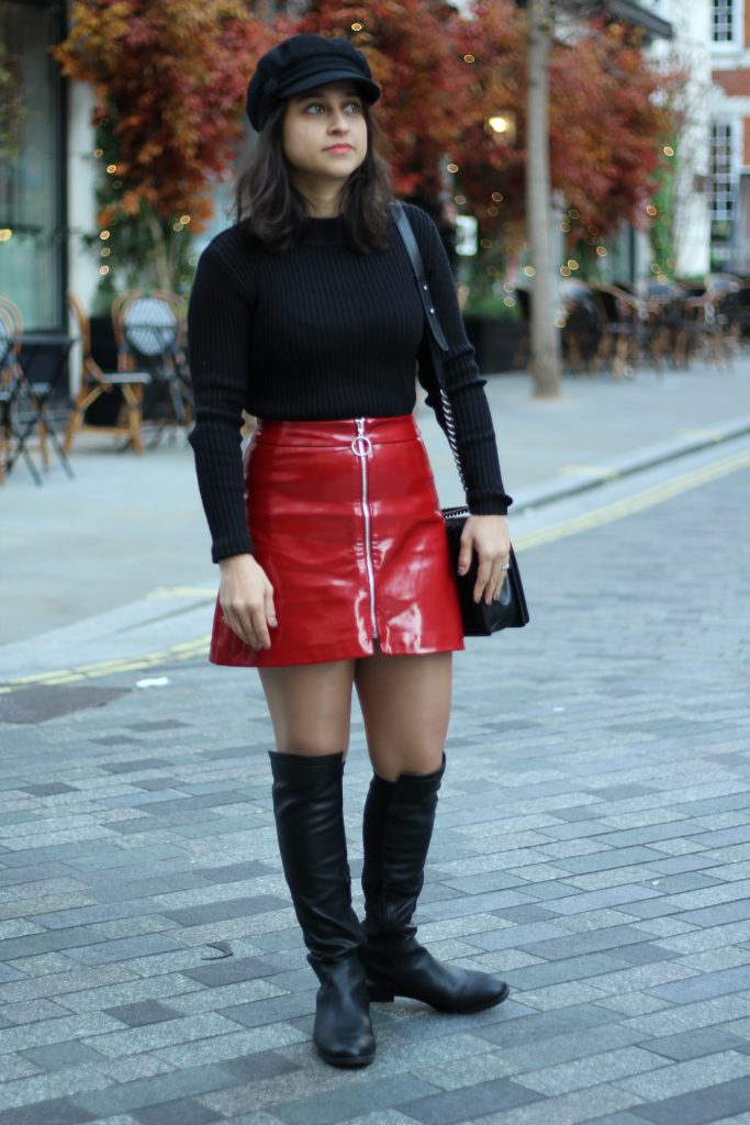 Zara Red patent zip skirt and turtleneck