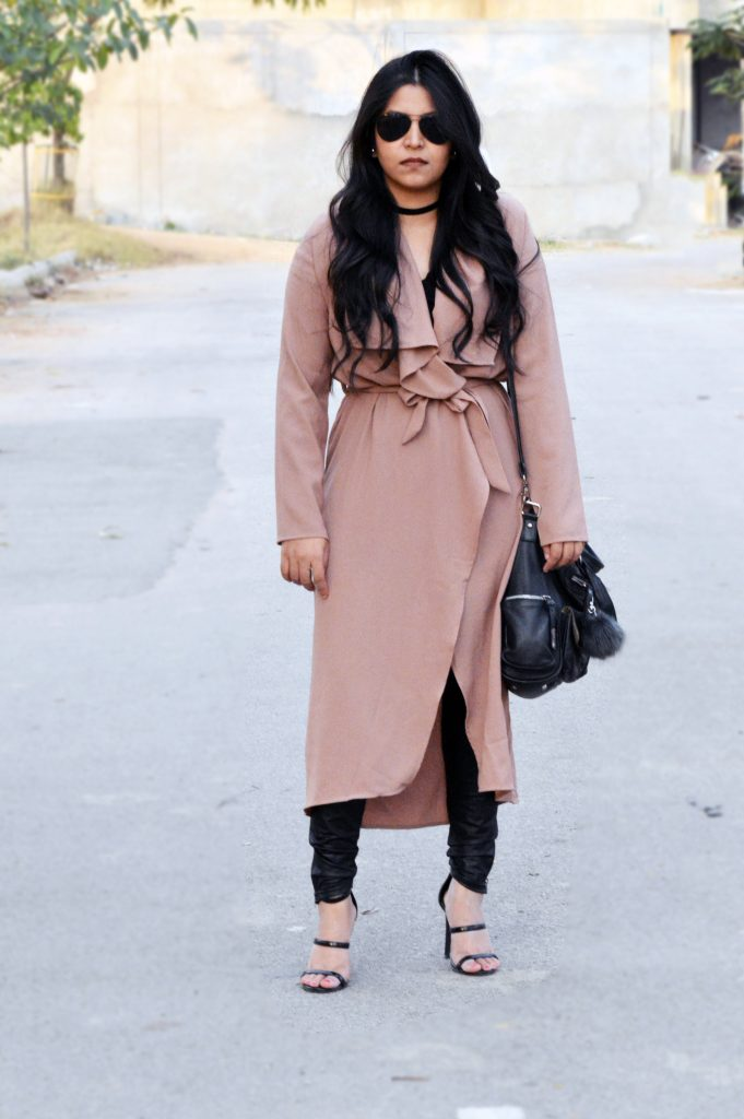 wrap trench coat winter outfit
