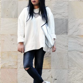 Winter Whites: Oversized Sweaters and Ripped Jeans