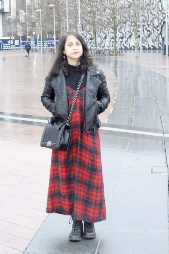 Zara red checked slip dress turtleneck