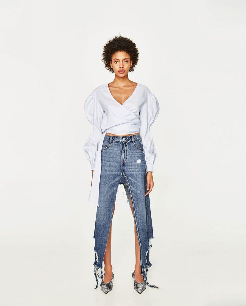 Zara long denim skirt strange clothes