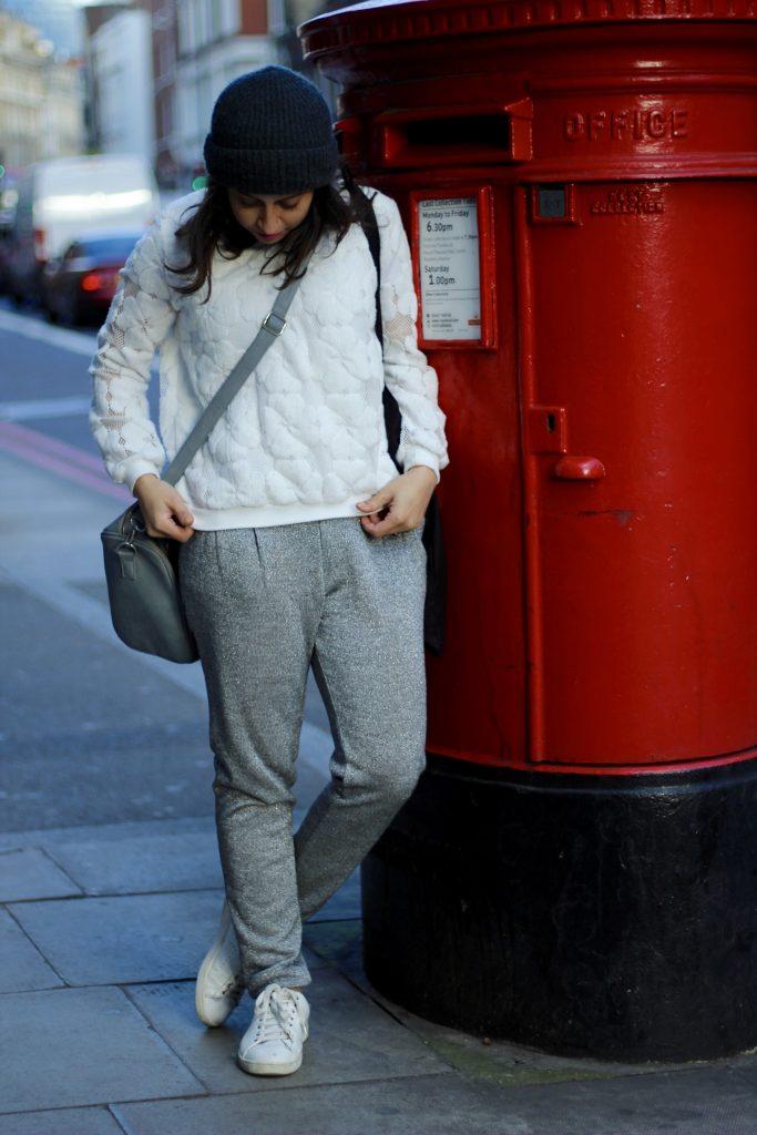 Sweatpants and a sweatshirt